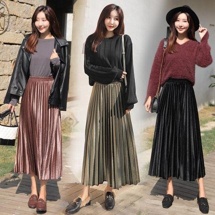 49b994182 ProductImage. ProductImage. High waist velvet pleuche pleated maxi skirt
