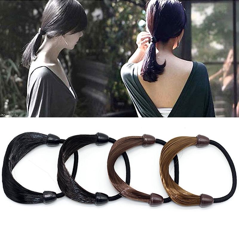 Fashion Women Hair Band Straight Wig Elastic Rope Scrunchie Ponytail Holder