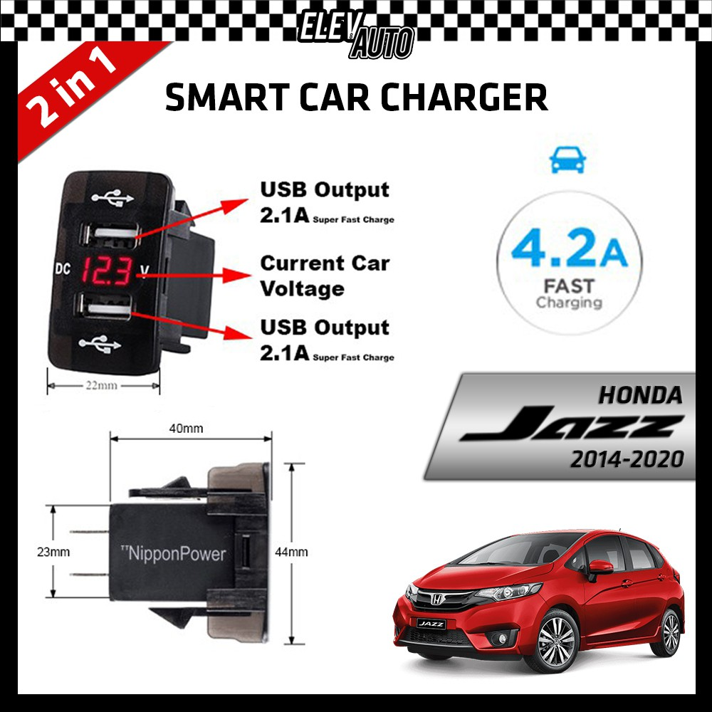 DUAL USB Built-In Smart Car Charger with Voltage Display Honda Jazz 2014-2021