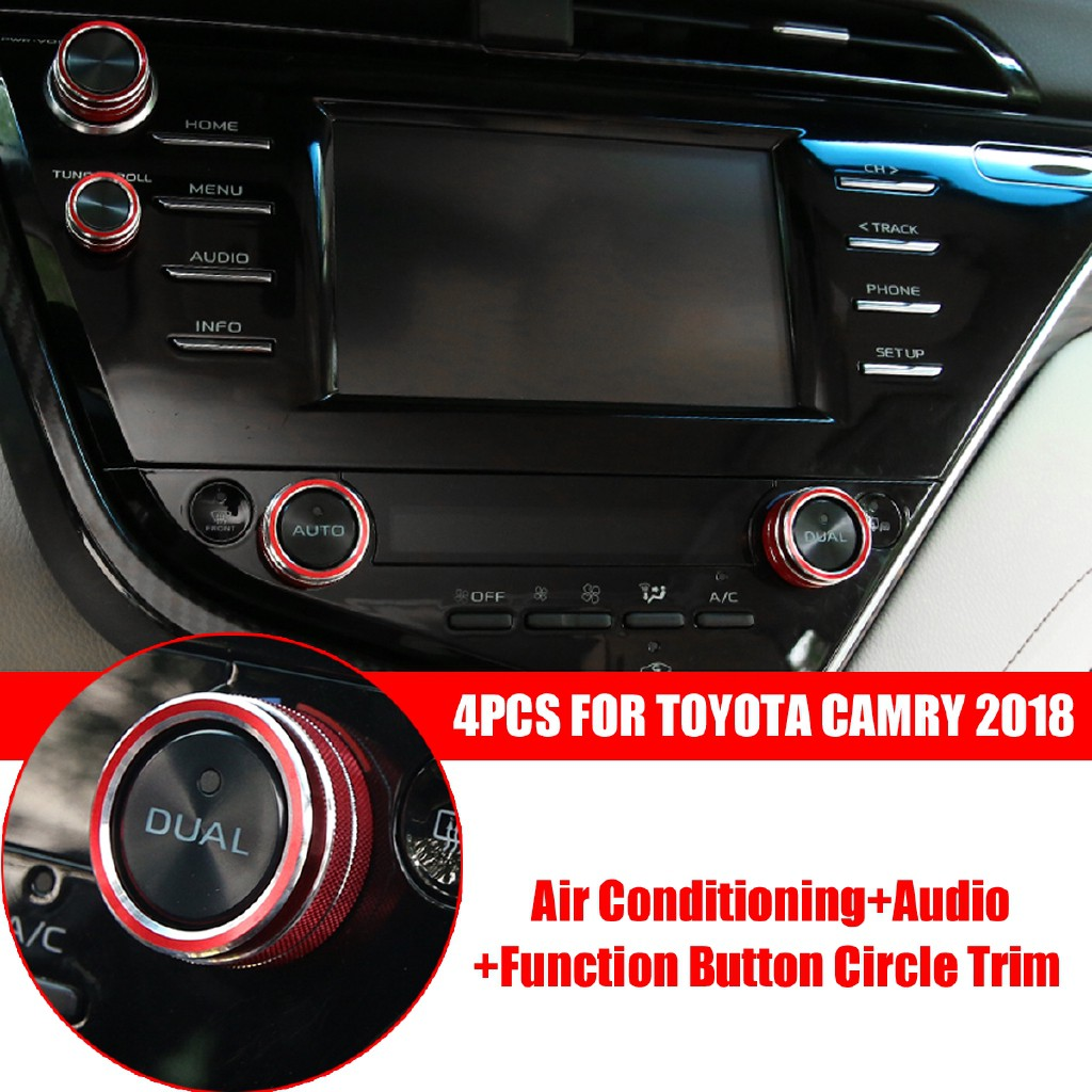 For Toyota Camry 2018 Blue Air Conditioning+Audio+Function Button Circle 4Pcs