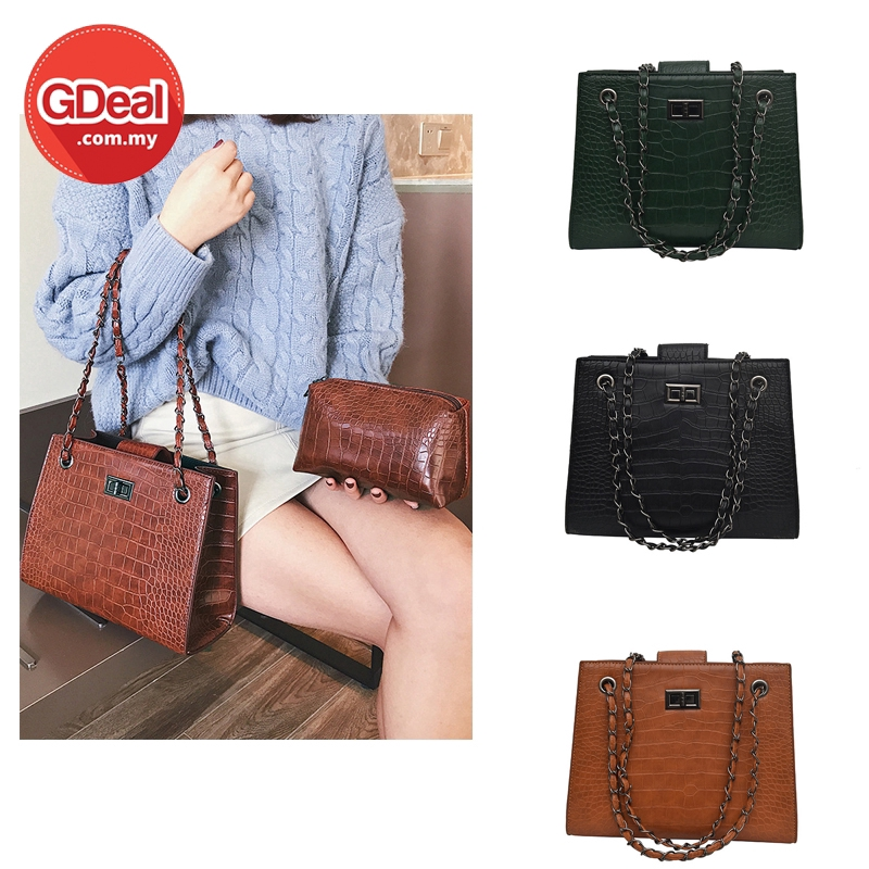 GDeal Women 2 in 1 Fashion PU Crocodile Casual Texture Handbag Small Pouch (RYL-302)