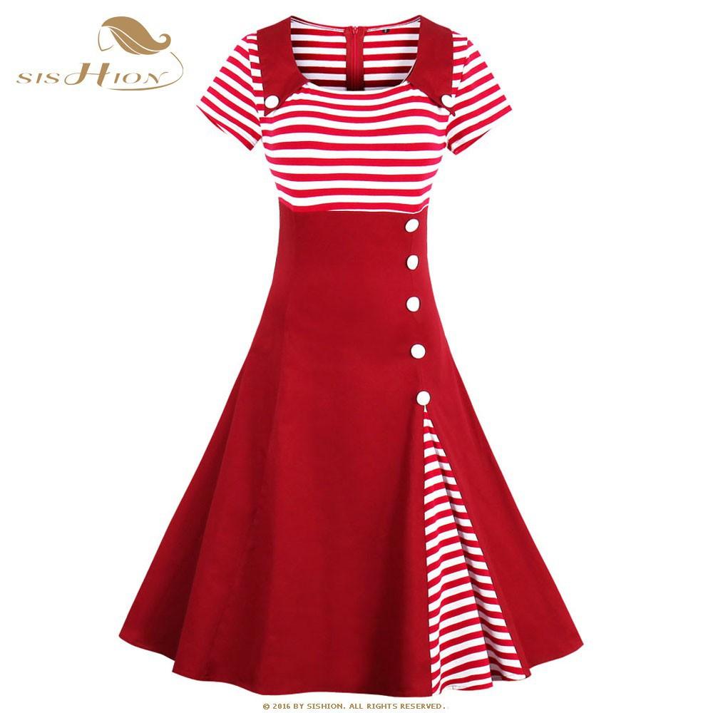 c1e506cac5 SISHION Botton Docorated Vintage Dress Plus Size Striped Summer Casual Dress
