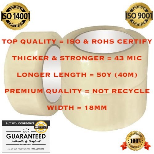 """[PREMIUM] """"18MM x 50Y (40M) x 43 MICRON"""" OPP CLEAR TRANSPARENT ADHESIVE PACKING TAPE PITA x 1 Roll   ***HIGH QUALITY***"""