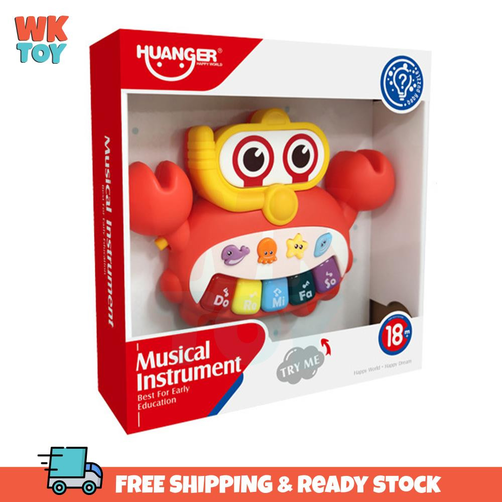 WKTOY Huanger Crab Baby Toddler Piano Music Early Education Sound & Lights