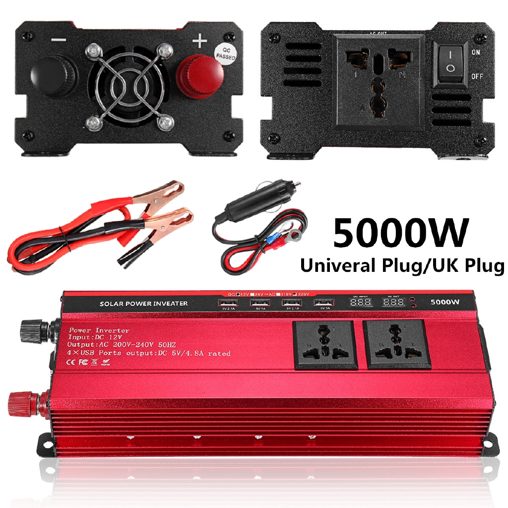 5000W Solar Power Inverter Sine Wave LED 4 USB DC12//24V To AC110V//220V Convert