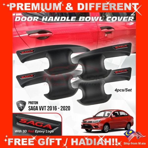 [FREE Gift] PROTON SAGA VVT 2016 - 2020 Matt Black Door Handle Inner Bowl Protector Cover Trim (4pcs/Set)