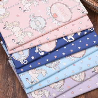 Cotton Fabric 1 Metre x 140 cm Weight 120g//m2 Star Print Grey Blue Pink Quilting