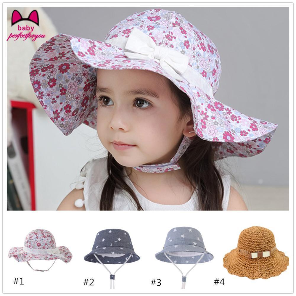 8b74bcde9 Floral Print Girl Children Beach Cap Fashion Summer Cute Cotton Sun Hats