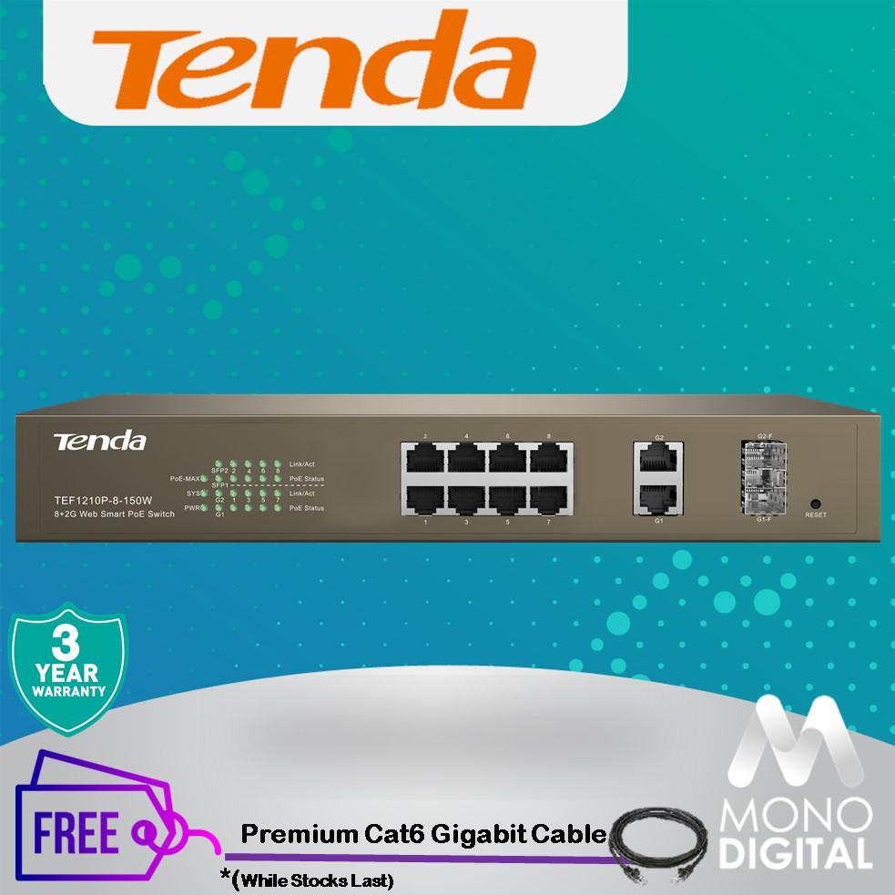 Tenda TEF1210P-8-150W 2 Gigabit Web Smart PoE Switch (Tenda Malaysia) FREE Premium Cable