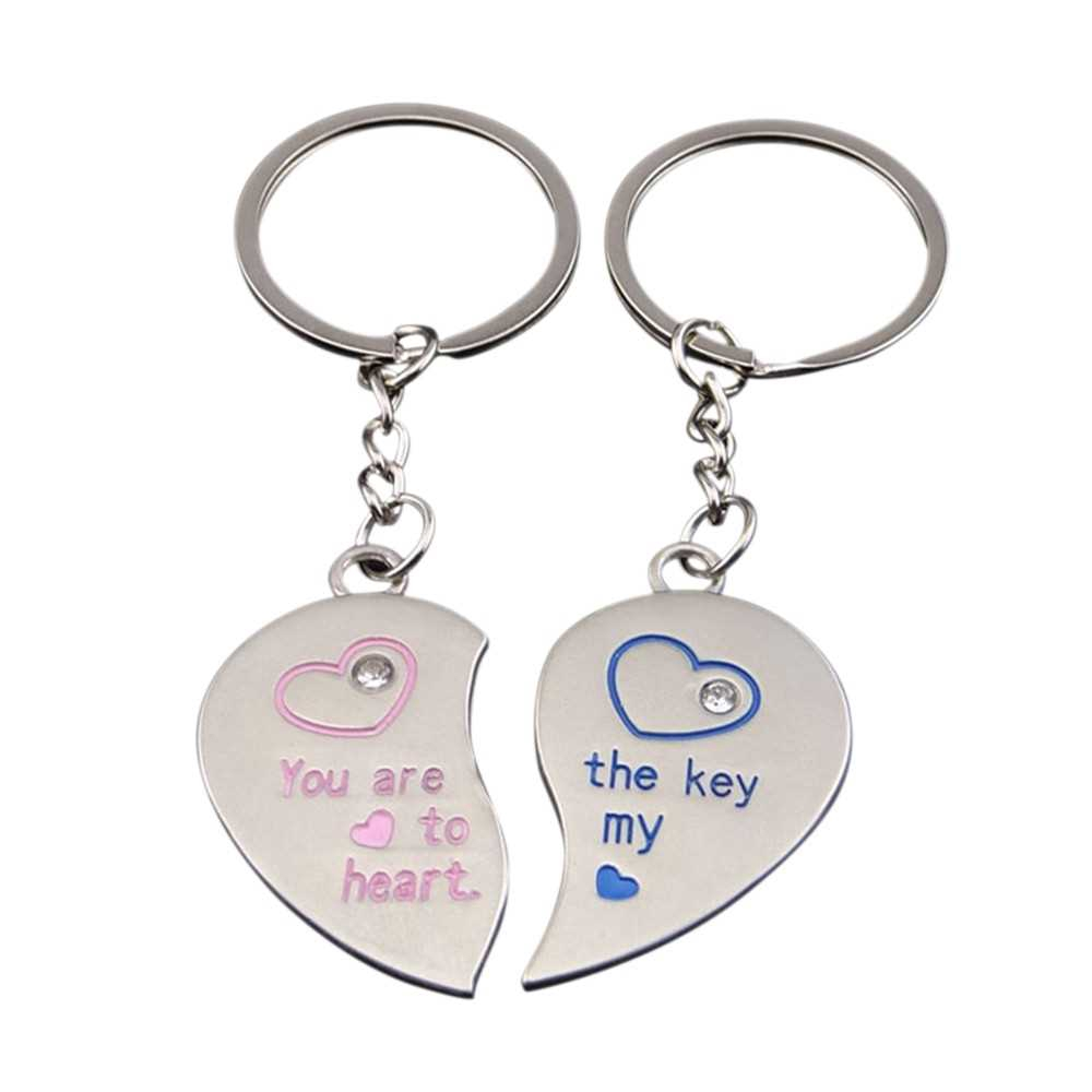 Fashion Sweethearts Metal Key Chain Women & Men Letters Key Ring Pendant Valentine's Day Gift (3)