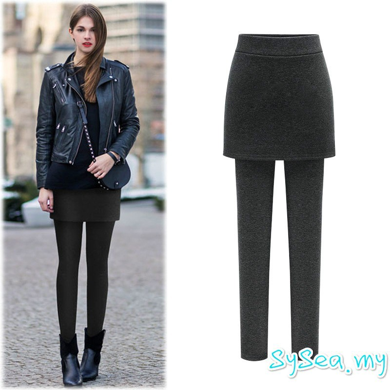 e4624ee54 Plus Size S-6XL Women Warm Long Legging Winter Black Skirt Tights Stretch  Pants | Shopee Malaysia