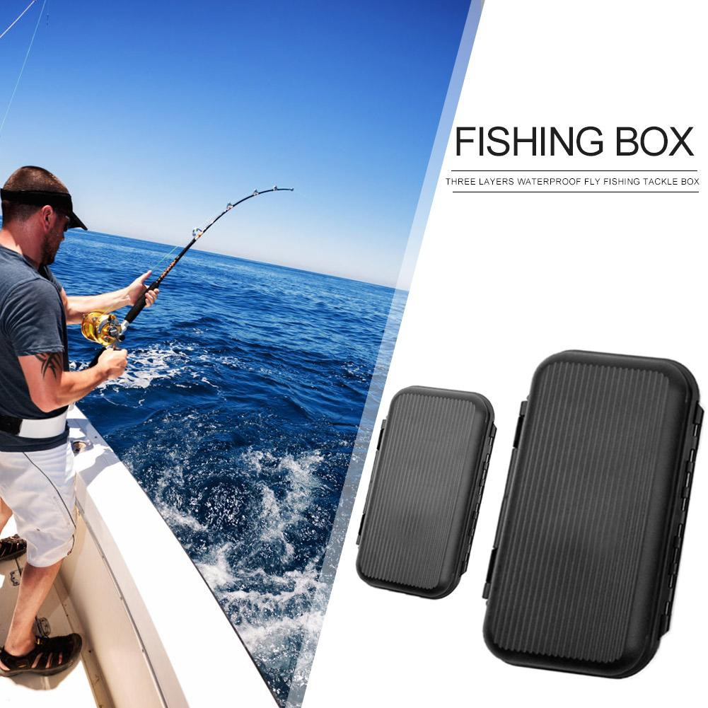 Durable Plastic Fishing Lure Case Tackle Fly Fishing Box Bait Tool Waterproof