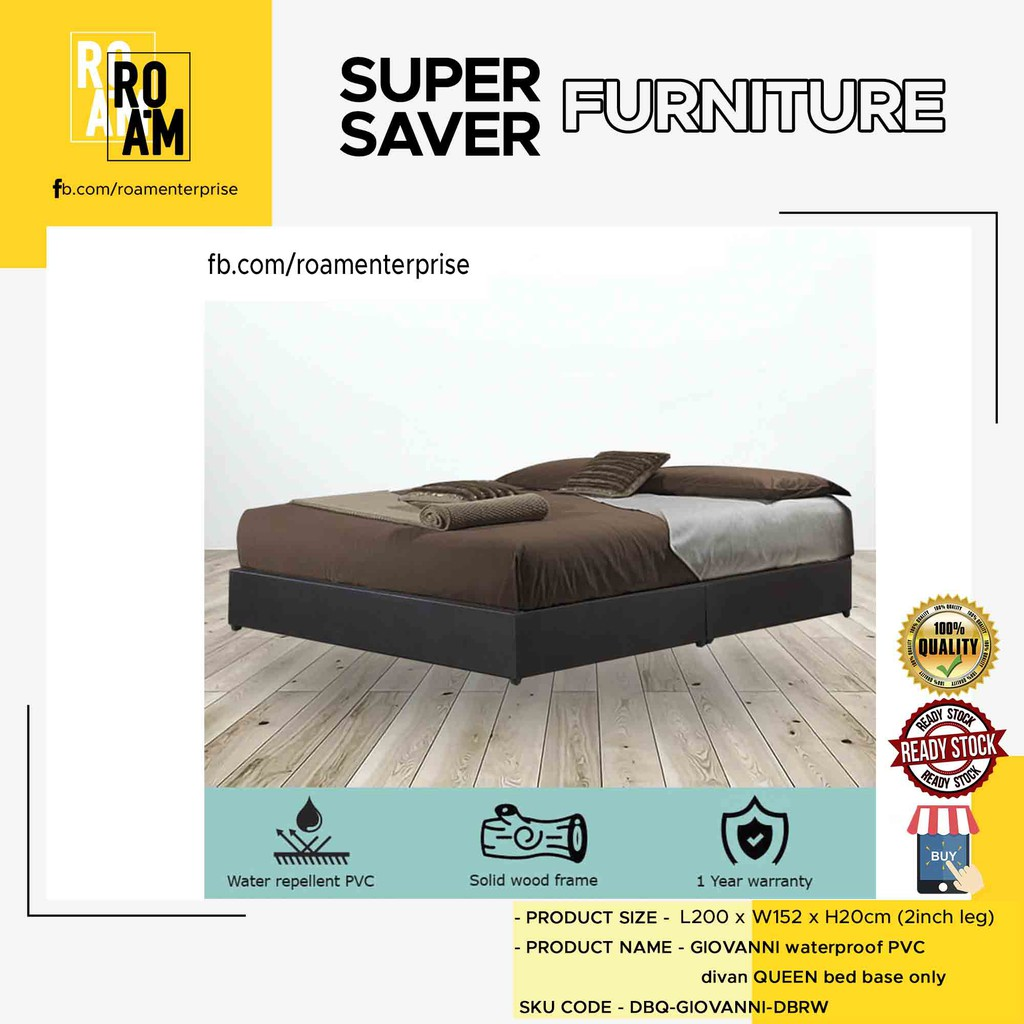 TAD GIOVANNI WATERPROOF PVC DIVAN  QUEEN BED BASE (PVC MATERIAL )   - 8005 Bed Base Queen