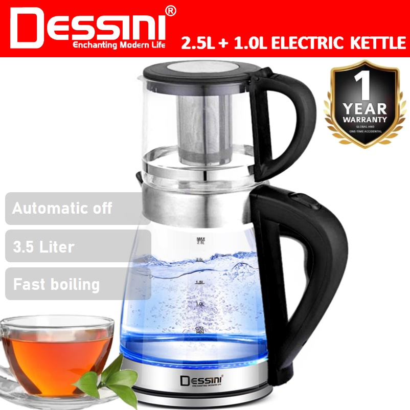 【ORIGINAL】 DESSINI ITALY 2.5L + 1.0L Glass LED Light Electric Kettle Automatic Cut Off Boiler Jug Teapot / Cerek