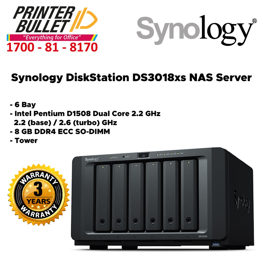 Synology DiskStation DS3018xs NAS Server (6 Bay, 8 GB DDR4 , Tower)