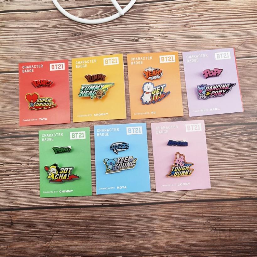 Ready Stock] BT21 KPOP BTS ARMY Bangtan Boy Cartoon Badges Badge Fans  Listing