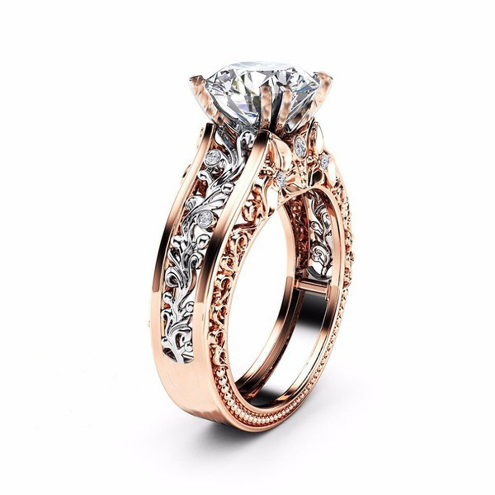 623a1bac97567 Fashion Women Color Separation Rose Gold Wedding Engagement Floral Ring