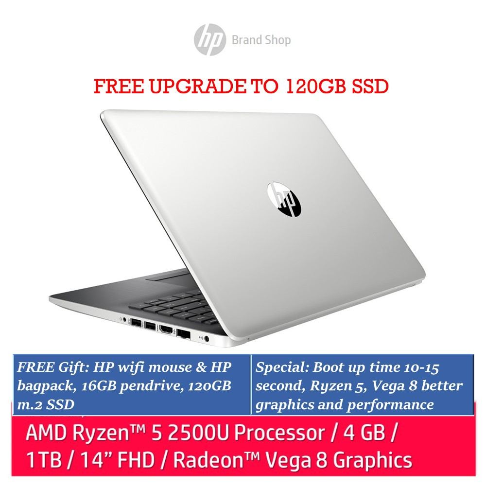HP 14-cm0107au laptop (Ryzen 5, 4GB, 1TB, Radeon Vega 8, Silver)