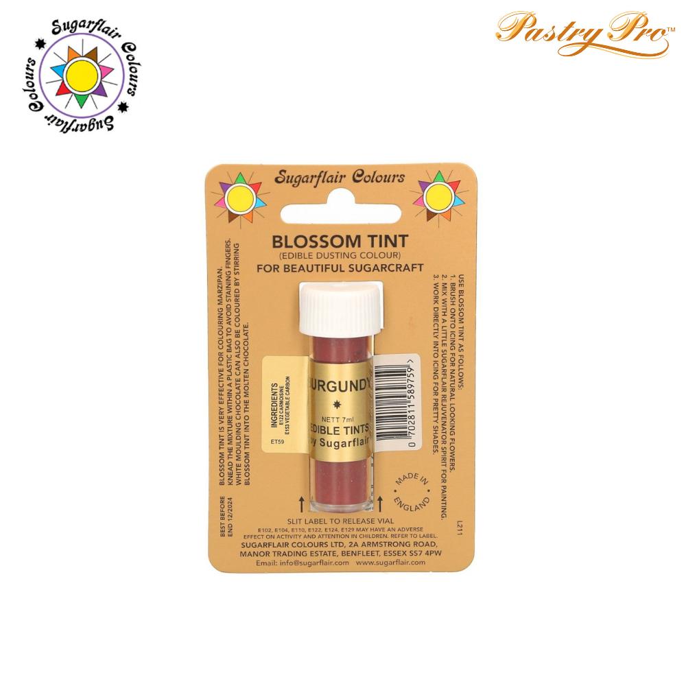 Sugarflair, Blossom Tint, Edible Dusting Powder, Burgundy, 7ml
