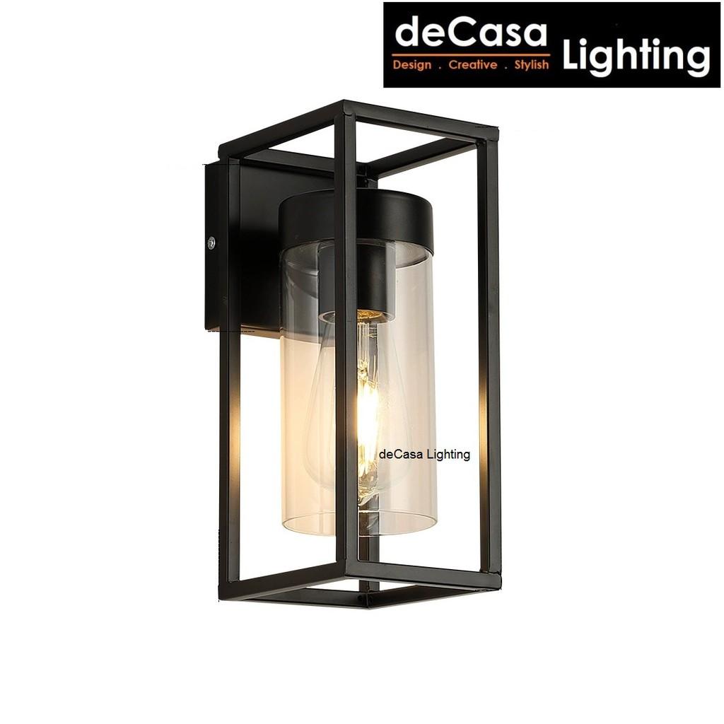 DECASA LIGHTING Set With 4w Led Bulb Modern Simple Glass Wall Light E27 Holder Designer Wall Lamp Black(W825)