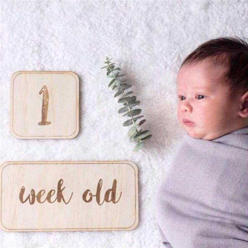 photo prop baby shower baby age milestone memorable moments cards 1-12 month