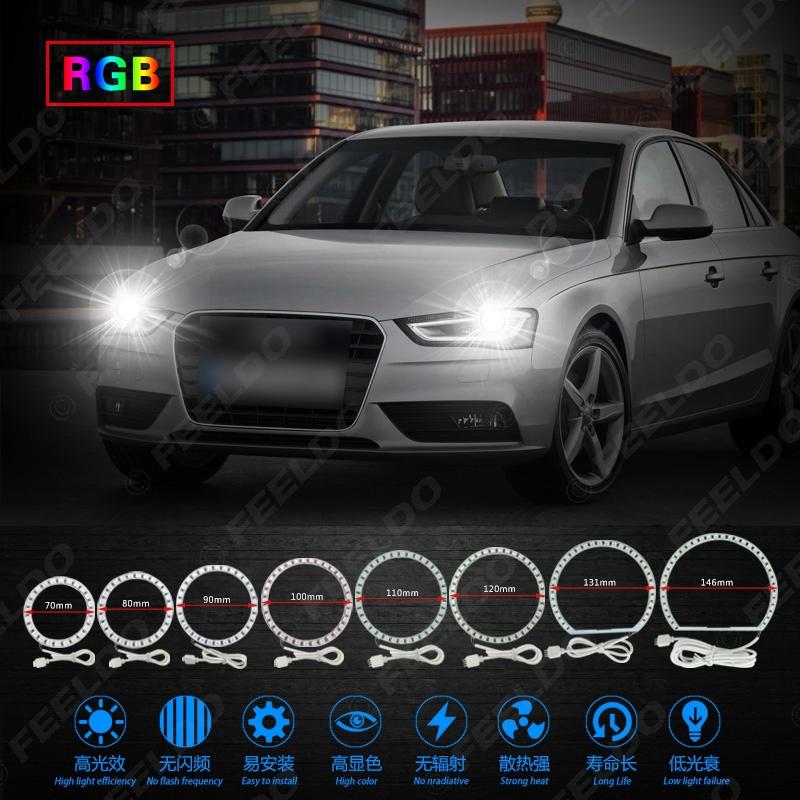 4x 90MM RGB LED Angel Eyes Lights Halo Rings Headlight DRL Phone APP Control Kit