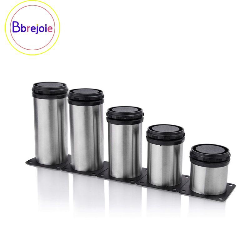 Round Waterproof Legs 4-Piece Stainless Steel Furniture Legs Adjustable Furniture Support Feet for Kitchen//Cabinet//Sofa//Coffee Table//Bed//Work Bench Replacement Legs Black