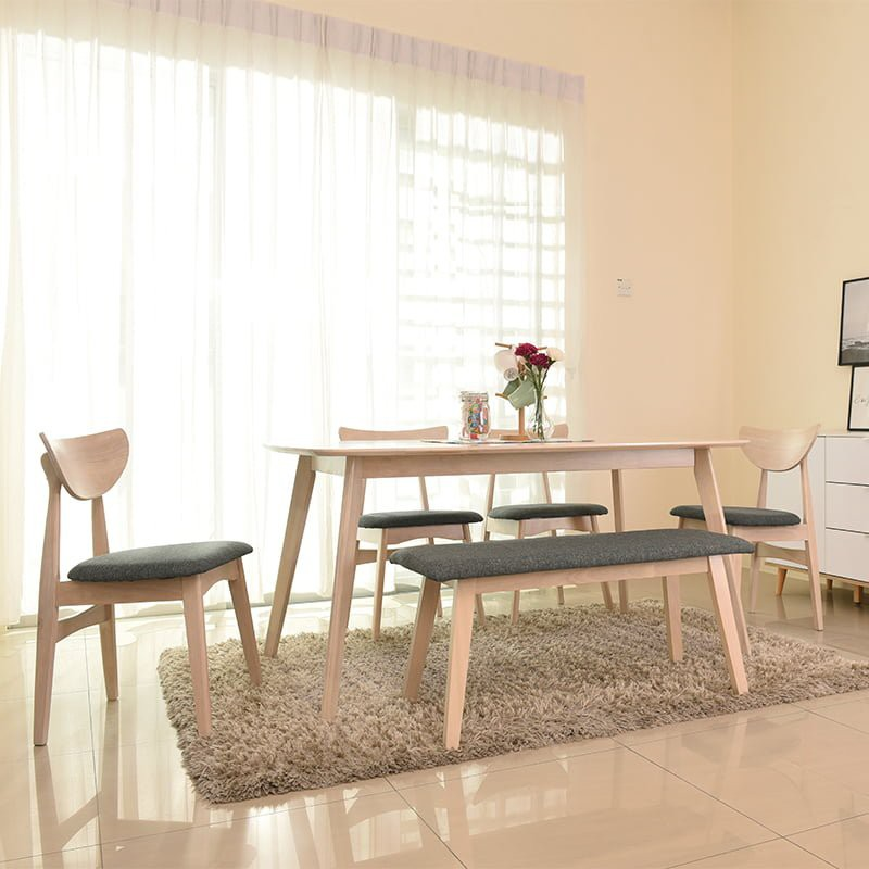 ROAM HINO Solid Rubberwood 6 Seater Dining Set With Bench natural white/oak color muji furniture minimalist ikea