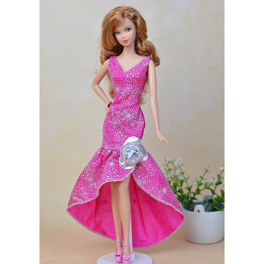 Pink Fashion One Piece Long Evening Dress For Barbie Dolls Clothes Party Dress Shopee Malaysia