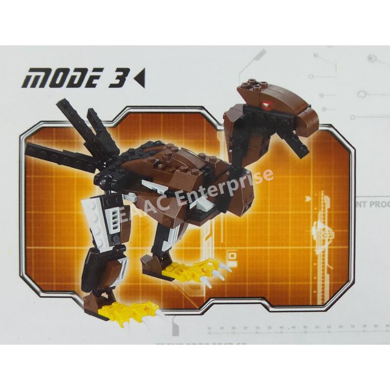 3 in 1 Armored Falcon Dinosaur Transformer Bricks Building Set 203pcs