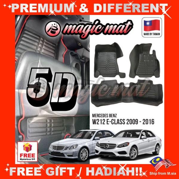 [FREE GIFT Gift] MERCEDES BENZ W212 E-Class 2009 - 2016 (5 Seater) MAGIC MAT 5D OEM PU Leather Floor Mat Anti-Slip Carpet