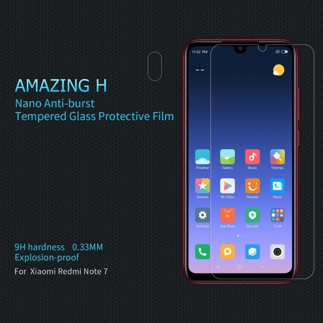 Nillkin ฟิล์มกระจกนิรภัย Xiaomi Redmi Note 7 รุ่น Among H 0.33mm. 9H hardness Explosion-
