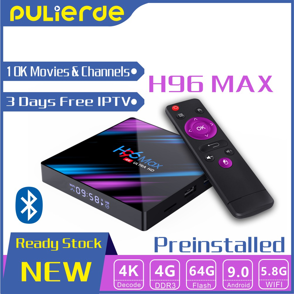 🔥NEW🔥 H96MAX 10000 Channels & Movies Android 9 0 TV Box 2G/4G DDR  16G/32G/64G FLASH WIFI -RK3318 4K with 3 days IPTV