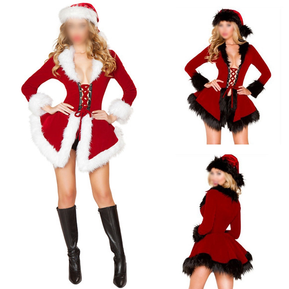 7aa76494b ProductImage. ProductImage. Outfit Faux fur collar Fashion Winter Women  Christmas Costume Santa Dress