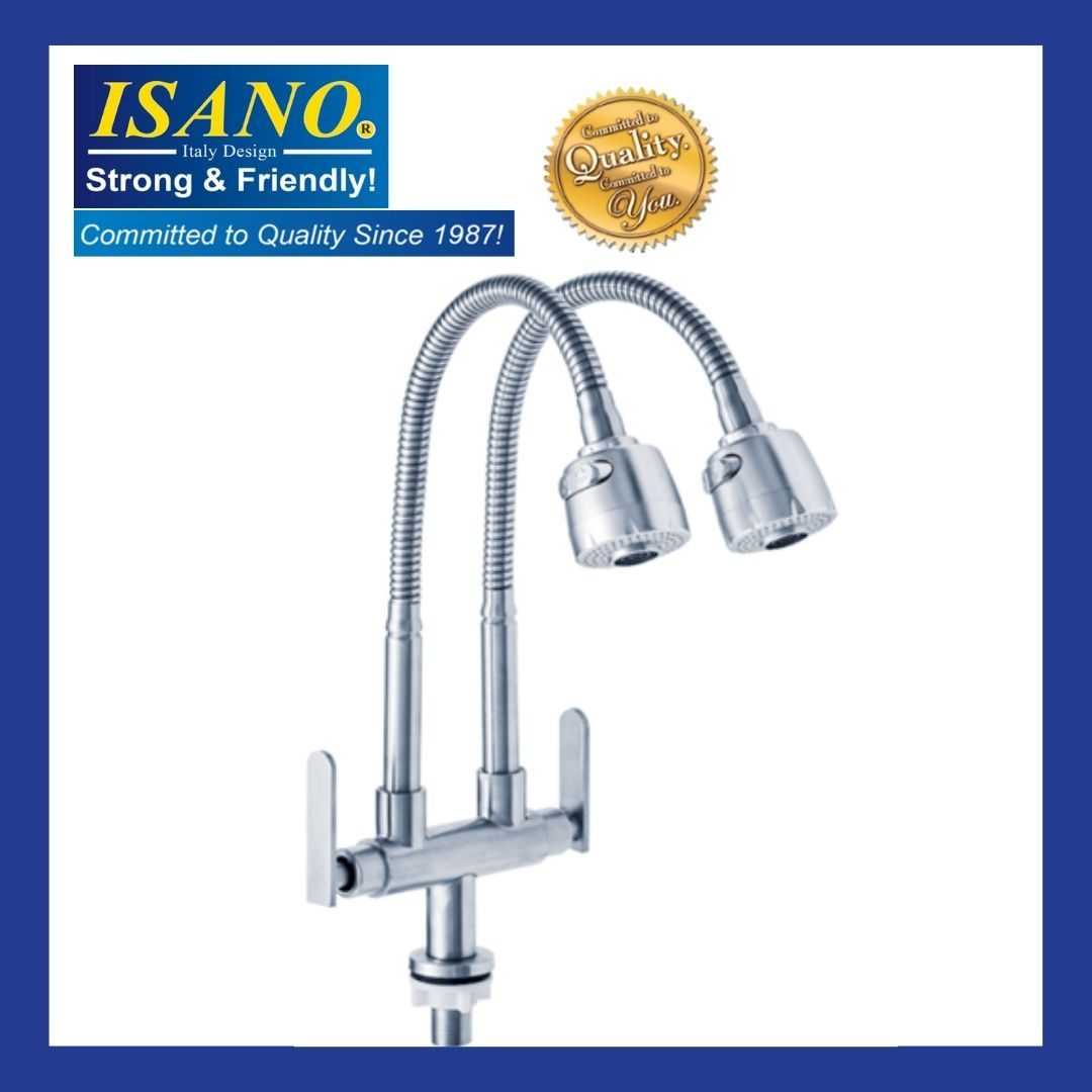 ISANO Kitchen Faucet Flexible Twin Neck Wall Sink Tap - 1000TFI