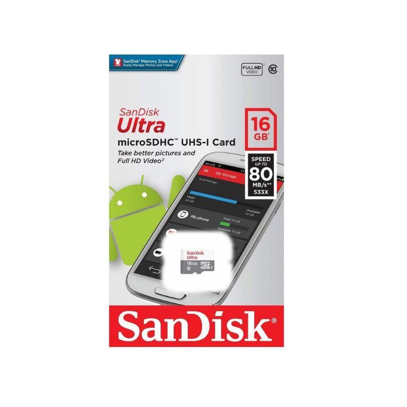 SanDisk Ultra 16GB/32GB/64GB/128GB 80MB/s 533x Class 10 microSDHC UHS-I Memory Card