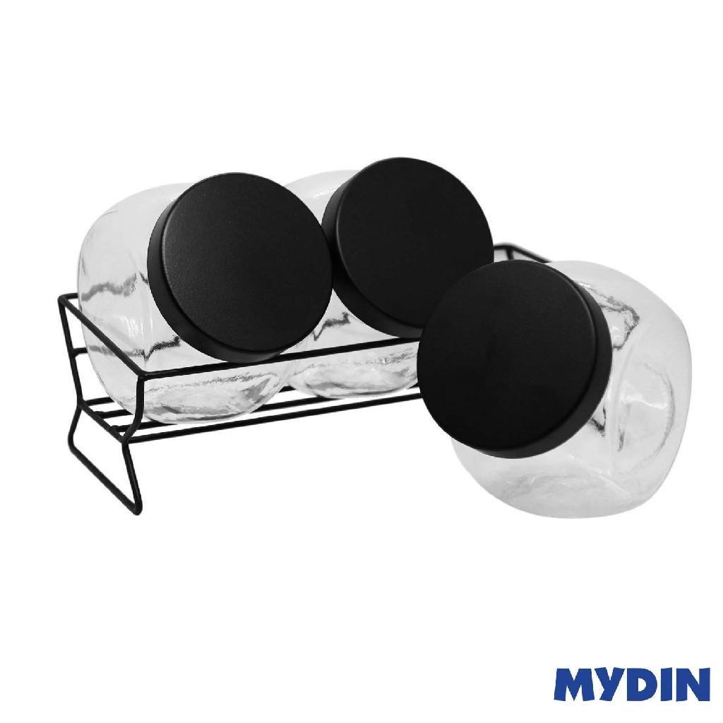 My Home Glass Canister 4Pcs Black Plain M-4S-BL #Raya