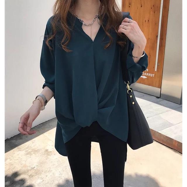 【M~4XL】BF Style Long Sleeve Shirt 秋季女装新款简约气质雪纺衬衫女长袖上衣宽松BF衬衣打底衫潮