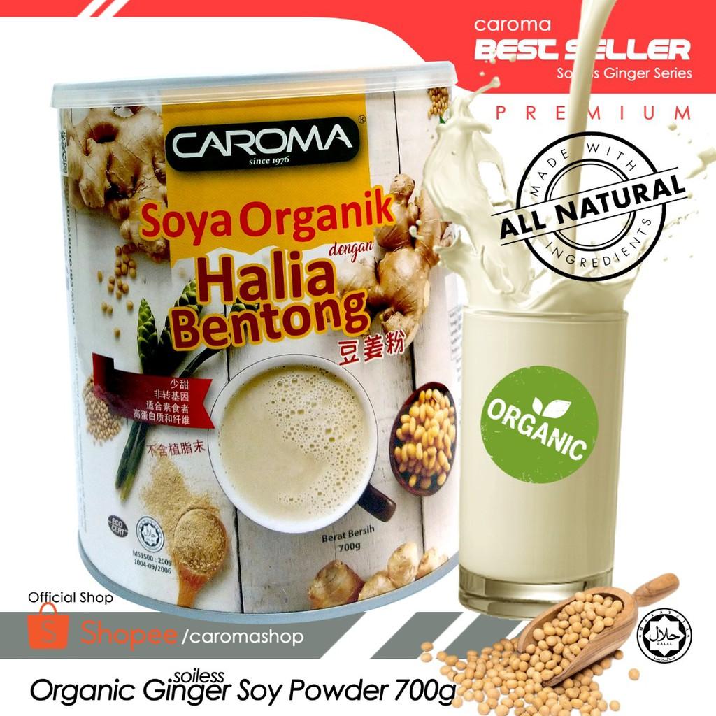 [CAROMA] High Protein Organic Soy with Bentong Ginger Powder / 700g/ Halal / Less Sweet/ Non GMO/High Fibre/ Soy Halia