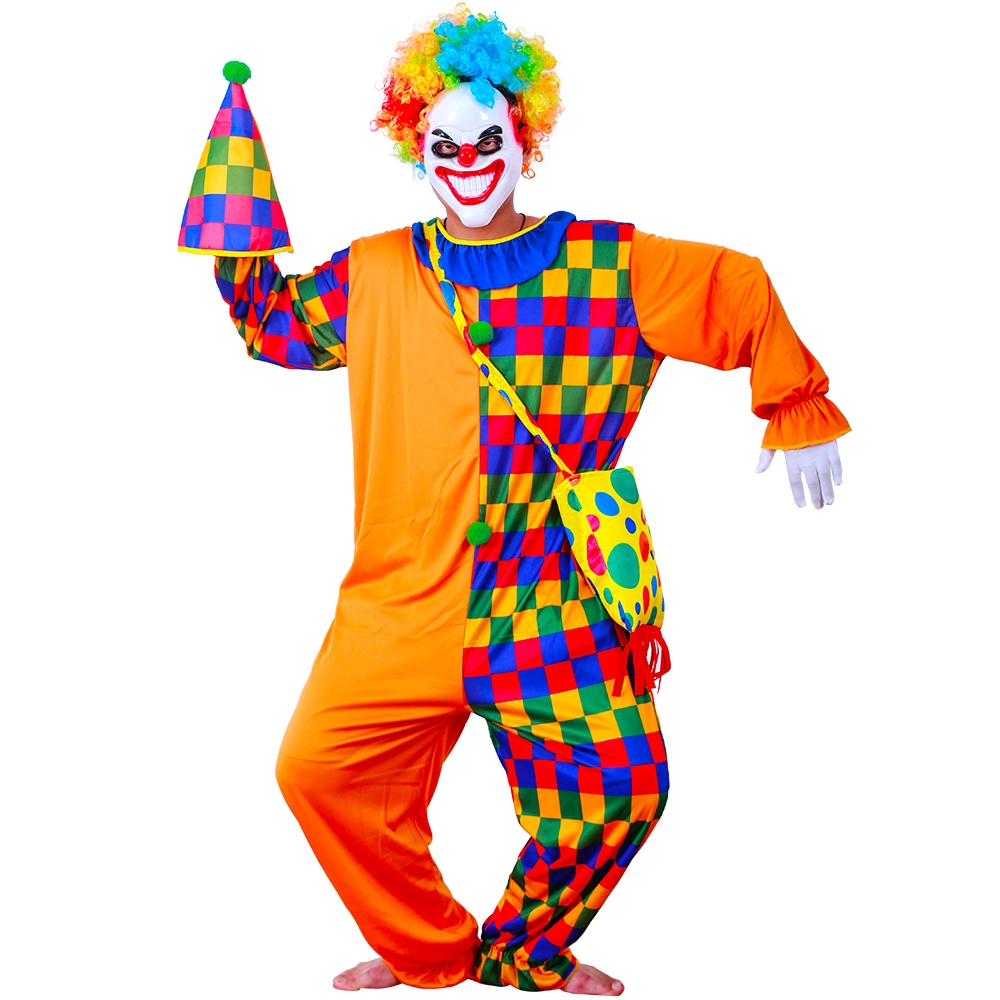 FUNNY STRIPED #CLOWN UNISEX HALLOWEEN FOR FANCY DRESS COSTUME ADULT SIZE