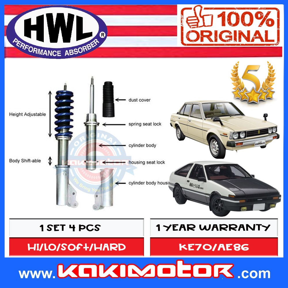 HWL MT1-BS Fully Adjustable for Toyota KE70/AE86