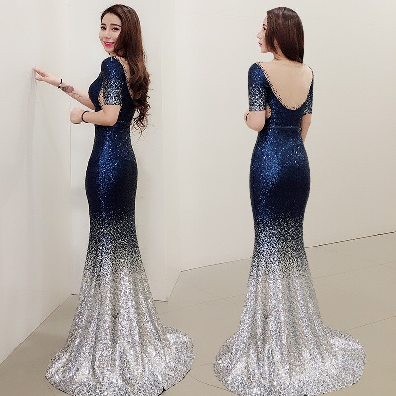 059e6e702 Evening dress girl 2018 new celebrity banquet party fish tail elegant dress  show thin host dress lon | Shopee Malaysia