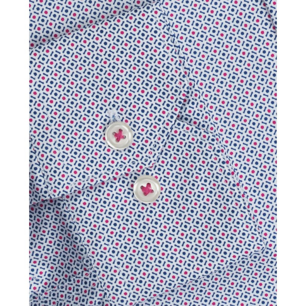 T.M.Lewin Mens  Fitted Navy and Pink Geometric Print Button Cuff Shirt