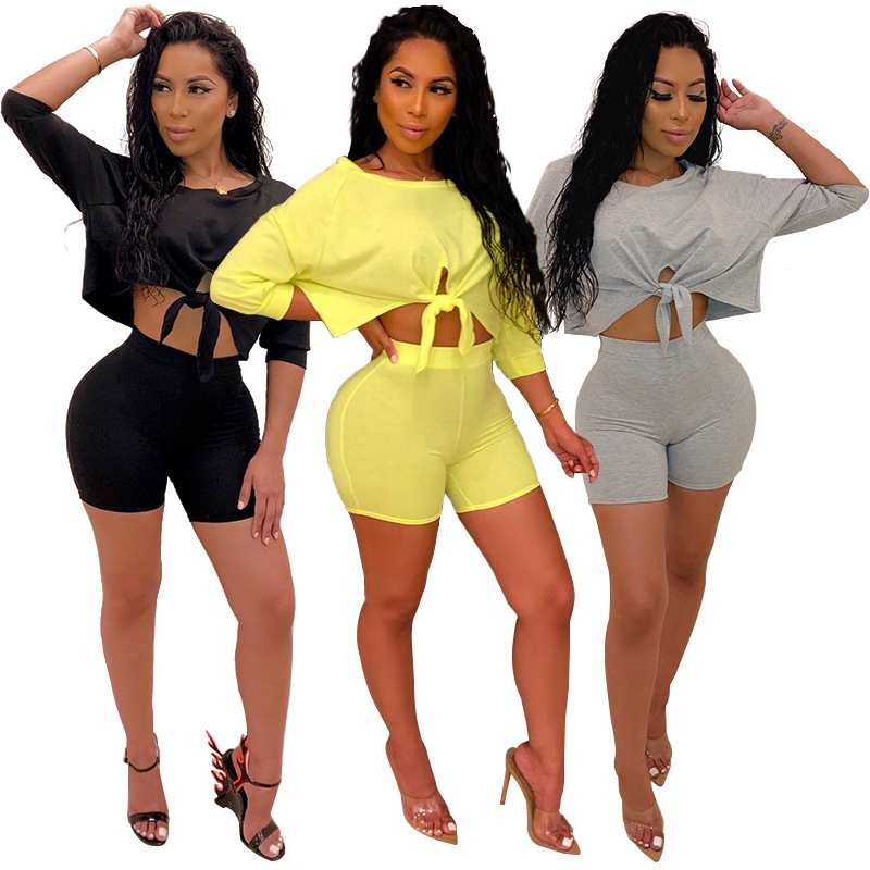Sexy Pure Color Women Ladies Fashion Bodycon Crop Top And Hot Pants Playsuit