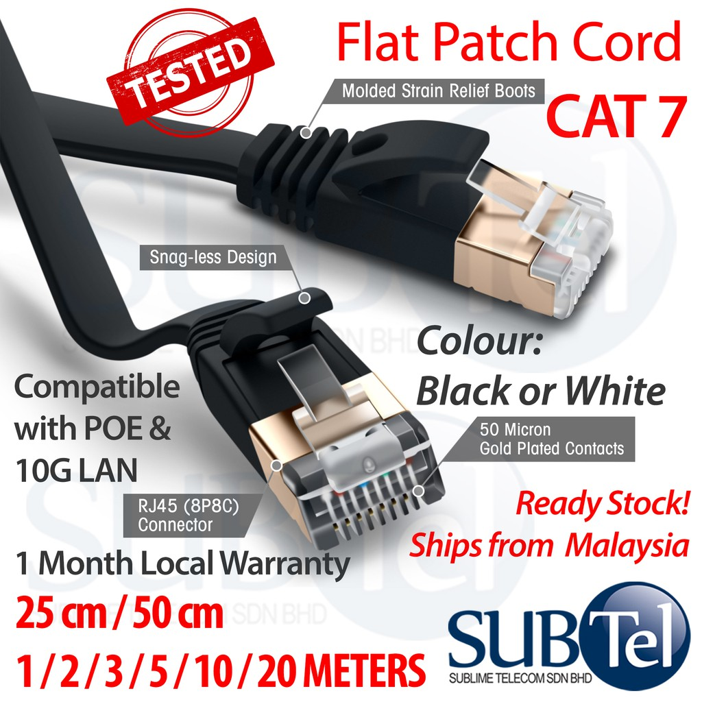 CAT7 RJ45 Flat Patch LAN Cord Network Ethernet Cable 10G SFTP 10M 20M 30M  10 20 30 meters PREMIUM QUALITY
