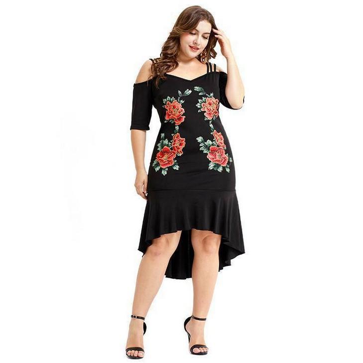 factory outlets half price new lifestyle Large Size Women Print Floral Summer Big Size Ladies Elegant Fashion Maxi  Dress Plus Size Dress XL-5XL