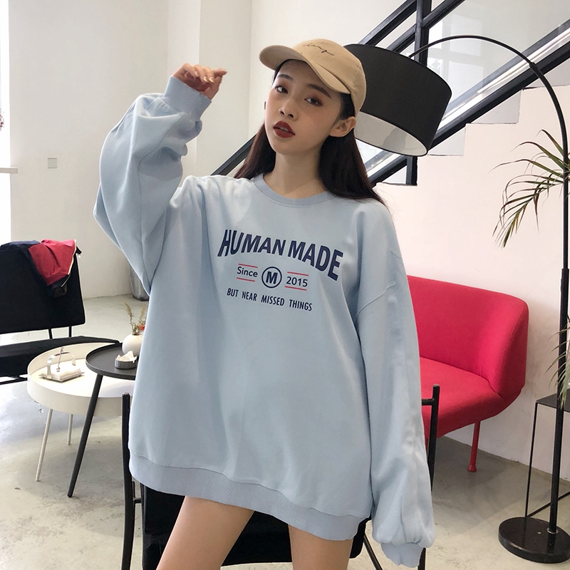Ready Stock 2019 New Korean Style Over Size Retro Letter Printed Loose Long Sleeve Plush Sweater Women