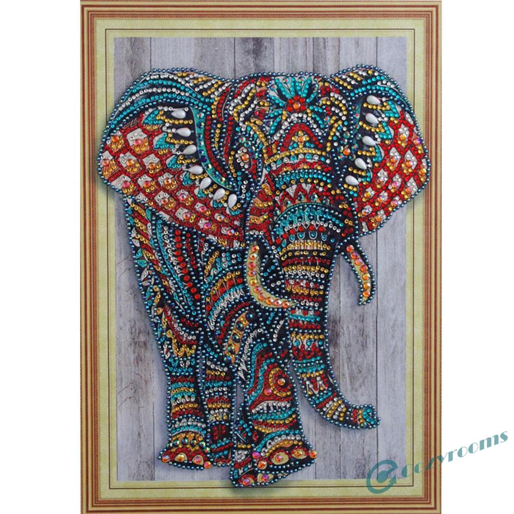 5D DIY Special Shaped Diamond Painting Elephant Embroidery Mosaic Craft Kit //Neu