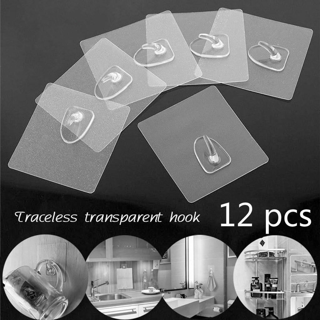 12pcs Anti-Skid Hooks, Seamless Plastic Hooks Strong Adhesive Hooks  Perforated Kitchen Hooks Waterproof Oilproof