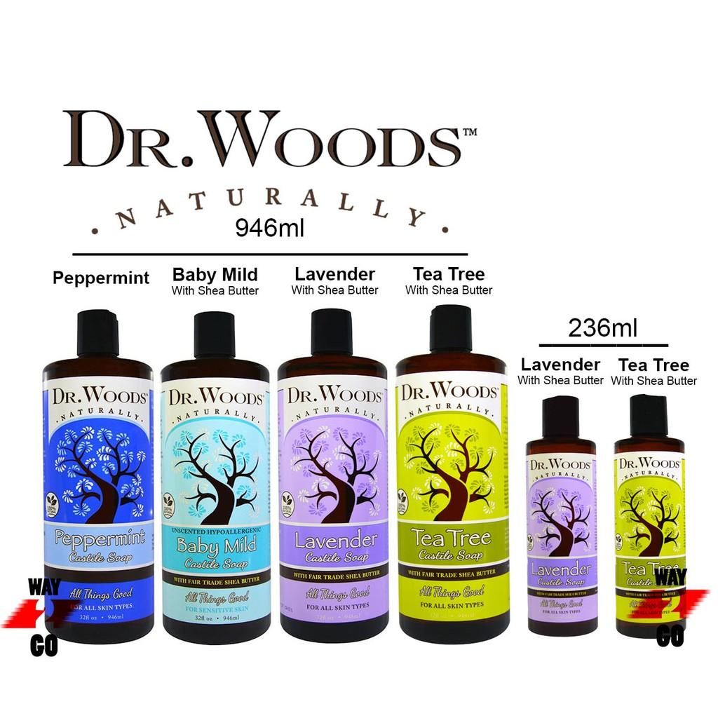✅ Dr. Woods, Peppermint Castile Soap, 236ml / 946ml / Lavender/TeaTree/Baby Mild, Castile Soap, Fair Trade, Shea Butter